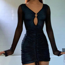 Dress Spring 2021 black S,M,L Short skirt singleton  Long sleeves street V-neck High waist Solid color Socket One pace skirt Others 18-24 years old Type H Hollowed out, pleated, lace up D20971X 81% (inclusive) - 90% (inclusive) polyester fiber Europe and America