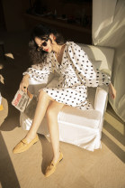 Dress Spring 2020 Black and white dots M,S,L,XS Middle-skirt singleton  Long sleeves Sweet V-neck High waist Dot Socket A-line skirt bishop sleeve Others 25-29 years old Type A TOP CLOSET Stitching, printing T20B2895-1 More than 95% brocade other Bohemia