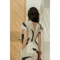 Dress Summer of 2019 Brush printing L,XS,M,S Mid length dress singleton  Short sleeve commute V-neck High waist zipper A-line skirt 25-29 years old Type A TOP CLOSET zipper T19B2226 More than 95% hemp
