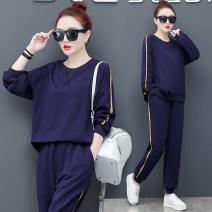 Casual suit Spring 2021 [e589 Royal Blue] [e589 black] M L XL XXL XXXL 4XL 2056-1 Han Yihuo 31% (inclusive) - 50% (inclusive) cotton Other 100% Pure e-commerce (online only)