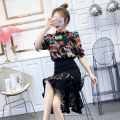 Dress Summer of 2019 Beauty Print Top + black skirt high heels pattern print dress + black skirt S M L Middle-skirt Two piece set Short sleeve commute Crew neck High waist Solid color Socket One pace skirt routine Others 18-24 years old Type H social standing lady Cut out printing with ruffle Y34520#