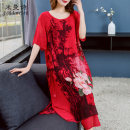 Dress Summer of 2019 gules L XL 2XL 3XL 4XL 5XL 6XL longuette singleton  elbow sleeve commute Crew neck Loose waist Big flower Socket Ruffle Skirt routine Others 35-39 years old Type A Miman Poetry lady Ruffle printing ML3304 More than 95% Chiffon polyester fiber Polyester 100%