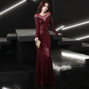 Dress / evening wear Wedding party company annual meeting performance S M L XL XXL Burgundy black champagne sexy longuette middle-waisted Winter 2020 fish tail U-neck zipper 18-25 years old CWJ20167 Long sleeves Nail bead Solid color Collection of objects routine Other 100% Sequins