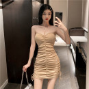 Dress Summer 2021 Black Khaki grey S M Short skirt singleton  Sleeveless commute One word collar High waist Solid color Socket One pace skirt other Breast wrapping 25-29 years old Type X Ya makeup Korean version Butterfly dew back fold stitching 570FS - six thousand two hundred and thirty-two #-