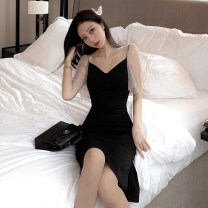 Dress Spring 2020 black S M L Mid length dress singleton  Short sleeve commute V-neck High waist Solid color Socket One pace skirt Flying sleeve Others 25-29 years old Type X Ya makeup Korean version 51% (inclusive) - 70% (inclusive) other polyester fiber Polyester 55% other 45%