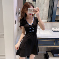 Dress Summer 2021 Black blue S M L XL Short skirt singleton  Short sleeve commute V-neck High waist Solid color Socket A-line skirt routine Others 25-29 years old Type A Ya makeup Korean version Bow cut and fold stitching A11- 7636## 91% (inclusive) - 95% (inclusive) other cotton