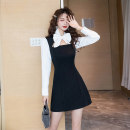 Dress Spring 2021 black S M L XL Short skirt singleton  Long sleeves commute other High waist Solid color Socket A-line skirt routine Others 25-29 years old Type A Ya makeup Korean version Bowknot stitching HCFSSPD-2657 51% (inclusive) - 70% (inclusive) other polyester fiber Polyester 55% other 45%