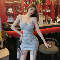 Dress Solid color camisole YBFSSFS- 2736 Summer 2021 Ya makeup Short skirt Sleeveless singleton  commute V-neck High waist 25-29 years old Condom other 51% (inclusive) - 70% (inclusive) One pace skirt polyester fiber Type X Korean version other Polyester 55% other 45% One size fits all