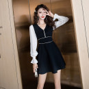 Dress Spring 2021 black S M L XL Short skirt singleton  Long sleeves commute V-neck High waist Solid color zipper A-line skirt pagoda sleeve Others 25-29 years old Type A Ya makeup Korean version Splicing 51% (inclusive) - 70% (inclusive) other polyester fiber Polyester 55% other 45%