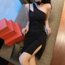 Dress Spring 2020 black S M L Short skirt singleton  Sleeveless commute Slant collar High waist Solid color Socket One pace skirt other Oblique shoulder 25-29 years old Type X Ya makeup Korean version Open back stitching 51% (inclusive) - 70% (inclusive) other polyester fiber Polyester 55% other 45%