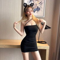Dress Spring 2021 black S M L Short skirt singleton  Sleeveless commute One word collar High waist Solid color Socket One pace skirt other Oblique shoulder 18-24 years old Type X Ya makeup Korean version Open back fold splicing TYBKFS--77512# 51% (inclusive) - 70% (inclusive) other polyester fiber