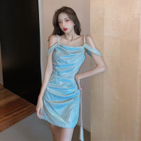 Dress Spring 2021 Malachite blue S M L Short skirt singleton  Sleeveless commute One word collar High waist Solid color Socket One pace skirt raglan sleeve camisole 25-29 years old Type X Ya makeup Korean version Bright silk open back fold stitching WYZG-8463# 51% (inclusive) - 70% (inclusive) other