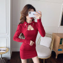Dress Spring 2021 Red and black S M L XL Short skirt singleton  Long sleeves commute Polo collar High waist Solid color A button One pace skirt routine Hanging neck style 25-29 years old Type X Ya makeup Korean version Hollow chain fold stitching button A11--7632# 91% (inclusive) - 95% (inclusive)