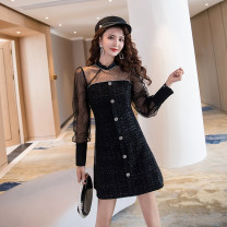Dress Spring 2021 black S M L XL Short skirt singleton  Long sleeves commute stand collar High waist Solid color zipper A-line skirt routine Others 25-29 years old Type A Ya makeup Korean version Stitched button zipper HCFSSPD-2784 51% (inclusive) - 70% (inclusive) other polyester fiber