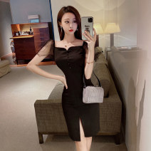 Dress Spring 2021 White black S M L Short skirt singleton  Short sleeve commute square neck High waist Solid color zipper One pace skirt Lotus leaf sleeve Others 25-29 years old Type X Ya makeup Korean version 91% (inclusive) - 95% (inclusive) other polyester fiber Pure e-commerce (online only)