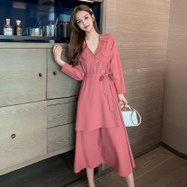 Dress Spring 2021 Black purple brick red S M L XL Mid length dress singleton  Long sleeves commute V-neck High waist Solid color Socket A-line skirt routine Others 25-29 years old Type A Ya makeup Korean version Bow tie stitching strap button XNMSP-1190 51% (inclusive) - 70% (inclusive) Chiffon