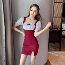 Dress Spring 2021 Black red M L Short skirt singleton  Short sleeve commute square neck High waist other Socket One pace skirt pagoda sleeve Others 25-29 years old Type X Ya makeup Korean version Bow fold Auricularia auricula stitching lace GMFS--239# 51% (inclusive) - 70% (inclusive) other