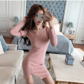Dress Spring 2021 Pink Black One size fits all Short skirt singleton  Long sleeves commute Crew neck High waist Solid color zipper One pace skirt routine Others 25-29 years old Type X Ya makeup Korean version Pleated zipper A11--3112# 30% and below knitting polyester fiber
