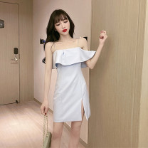 Dress Summer 2021 wathet S M L Short skirt singleton  Sleeveless commute One word collar High waist Solid color zipper One pace skirt other camisole 25-29 years old Type X Ya makeup Korean version Open back pleated zipper ZXZXFS-- 3803# 51% (inclusive) - 70% (inclusive) other polyester fiber