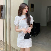 Dress Summer 2021 White black S M L Short skirt singleton  Short sleeve commute stand collar High waist Solid color Socket One pace skirt puff sleeve Others 25-29 years old Type X Ya makeup Korean version Pleated button ALSSPD- 1257 51% (inclusive) - 70% (inclusive) other polyester fiber