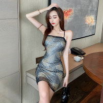 Dress Spring 2021 Black and white S M L Short skirt singleton  Sleeveless commute One word collar High waist Solid color Socket One pace skirt other camisole 25-29 years old Type X Ya makeup Korean version More than 95% other other Other 100% Pure e-commerce (online only)