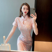 Dress Spring 2021 White light pink S M L Short skirt singleton  Short sleeve commute stand collar High waist Solid color A button One pace skirt routine Others 25-29 years old Type X Ya makeup Retro Pleated button DXH418AYJR-675## 91% (inclusive) - 95% (inclusive) Lace polyester fiber