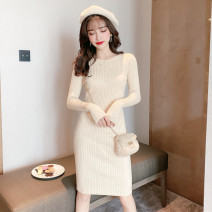 Dress Autumn 2020 Black apricot One size fits all Middle-skirt singleton  Long sleeves commute Crew neck High waist Solid color Socket One pace skirt routine Others 25-29 years old Type X Ya makeup Korean version Stitching buttons 51% (inclusive) - 70% (inclusive) knitting polyester fiber