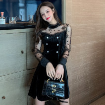 Dress Spring 2021 black S M L XL Short skirt singleton  Long sleeves commute stand collar High waist Dot zipper A-line skirt routine Others 25-29 years old Type A Ya makeup Korean version Pleated button mesh zipper printing XYJ-9511# 51% (inclusive) - 70% (inclusive) other polyester fiber