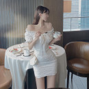 Dress Summer 2021 white S M Short skirt singleton  Short sleeve commute One word collar High waist Solid color Socket One pace skirt pagoda sleeve Breast wrapping 25-29 years old Type X Ya makeup Korean version Butterfly dew back fold Auricularia auricula splicing bandage Dan Dan-- 8501#- other