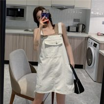 Dress Summer 2021 Denim blue white S M L Miniskirt Sleeveless A-line skirt straps 18-24 years old Soft dream More than 95% other Other 100% Pure e-commerce (online only)