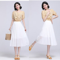 skirt Summer 2021 Average size White black Mid length dress commute High waist Pleated skirt Solid color Type A AL630144 Chiffon Karanti Retro Pure e-commerce (online only)