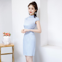 cheongsam Summer 2020 S M L XL 2XL 3XL Light purple light blue red black Short sleeve Short cheongsam Retro Low slit daily Oblique lapel Solid color 25-35 years old Piping C1919 Jian shiting polyester fiber Polyester 100% Pure e-commerce (online only) 81% (inclusive) - 90% (inclusive)