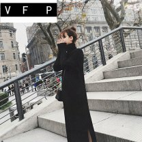 Dress Winter of 2018 Black and white S M L XL longuette singleton  Long sleeves commute High collar High waist Solid color Socket other routine Others 18-24 years old Type H VFP Korean version thread More than 95% knitting other Triacetate fiber (triacetate fiber) 100%