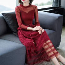 Dress Summer 2020 claret M L XL 2XL 3XL longuette singleton  Nine point sleeve commute other middle-waisted Solid color Socket Pleated skirt routine Others 40-49 years old Type A Ah Ping, ah Cheng Pleated lace 8386452BH More than 95% other Other 100% Pure e-commerce (online only)
