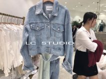 short coat Autumn of 2019 Average size Denim Long sleeves have cash less than that is registered in the accounts Thin money singleton  easy Bat sleeve stand collar Solid color