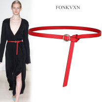 Belt / belt / chain Double skin leather Brown brown brown white red black Versatile Glossy surface 1.4cm Fonkvxn / wind dancing dust Spring 2021