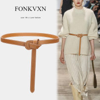 Belt / belt / chain top layer leather female belt Versatile Single loop Youth Glossy surface Glossy surface 3.8cm Smooth frosted candy color elastic Fonkvxn / wind dancing dust BZ20M04115272-3539503 Summer 2020 no