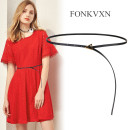 Belt / belt / chain Double skin leather Coffee apricot white red brown black Versatile 0.7cm alloy Fonkvxn / wind dancing dust 78795-3724502 Spring 2021