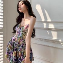 Dress Summer 2021 Floral skirt S M L Short skirt singleton  Sleeveless commute V-neck High waist Decor Socket A-line skirt routine camisole 18-24 years old Type A Disco cool printing RTF36 More than 95% Chiffon other Other 100%