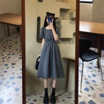 Dress Summer 2021 Picture color S M L XL Mid length dress singleton  Short sleeve commute square neck High waist Solid color puff sleeve 18-24 years old Type A Disco cool Retro 6464dd More than 95% other Other 100%