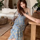 Dress Summer 2021 Yellow blue S M L XL Mid length dress singleton  Sleeveless commute V-neck High waist other other camisole 18-24 years old Type A Disco cool Retro printing 106q More than 95% other Other 100% Pure e-commerce (online only)