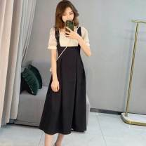 Dress Summer 2021 Black short black long S M L XL Mid length dress singleton  Short sleeve commute square neck High waist Solid color other A-line skirt other Others 18-24 years old Type A Disco cool lady More than 95% other other Other 100% Pure e-commerce (online only)