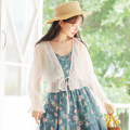 Lace / Chiffon Summer 2020 Grey blue apricot white bronzing soft powder S M L XL Long sleeves Sweet Cardigan singleton  easy have cash less than that is registered in the accounts V-neck Solid color pagoda sleeve 18-24 years old Han Xuanwei HXW3350 Lace up Other 100% Pure e-commerce (online only)