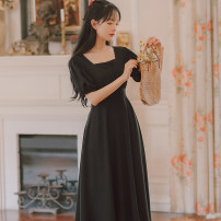 Dress Summer 2020 Purple green black apricot S M L XL Mid length dress singleton  Short sleeve Sweet square neck High waist Solid color Socket Big swing puff sleeve Others 18-24 years old Type A Han Xuanwei Button More than 95% other other Other 100% Mori Exclusive payment of tmall