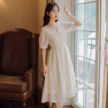 Dress Summer 2020 Apricot [short sleeve] S M L XL Mid length dress singleton  Long sleeves Sweet other High waist Solid color Socket A-line skirt shirt sleeve Others 18-24 years old Type A Han Xuanwei Lace HXW3217 More than 95% other other Other 100% Mori Pure e-commerce (online only)