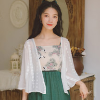 short coat Summer 2020 S M L XL white three quarter sleeve have cash less than that is registered in the accounts Thin money singleton  easy pagoda sleeve other Solid color 18-24 years old Han Xuanwei 96% and above Embroidery other Other 100% Exclusive payment of tmall