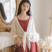 Lace / Chiffon Summer 2020 Apricot white grey S M L XL Long sleeves Sweet Cardigan singleton  easy Medium length other Solid color other 18-24 years old Han Xuanwei HXW3386 Bow tie Other 100% Exclusive payment of tmall Mori