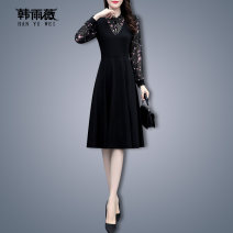 Women's large Spring 2021 Dress singleton  commute easy Socket Long sleeves Broken flowers Korean version other routine Han Yuwei 30-34 years old 91% (inclusive) - 95% (inclusive) Medium length Polyester 97% other 3% Pure e-commerce (online only)