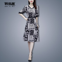 Women's large Summer 2021 black L XL 2XL 3XL 4XL 5XL Dress singleton  commute Self cultivation thin Socket Short sleeve Abstract pattern Korean version V-neck routine HJ1031AM61855166 Han Yuwei 30-34 years old Medium length Polyester 97% other 3% Pure e-commerce (online only)