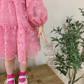Dress Pink, white female Other / other 130cm,120cm,110cm,100cm,90cm,80cm Other 100% spring and autumn Korean version Long sleeves Dot organza  A-line skirt other 7 years old, 8 years old, 6 years old, 5 years old, 4 years old, 3 years old, 2 years old, 18 months old, 12 months old Chinese Mainland